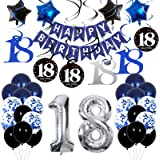 18th Birthday Decorations for Boys Dark Blue, HAPPY BIRTHDAY Banner and Sliver Number 18 Balloons, Deep Blue Theme Party for