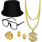 5 PCS Hip Hop Costume Kit Bucket Hat Sunglasses Dollar Sign Chain Ring Earring