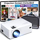 APEMAN Mini Projector, 1080P Supported, 200'' Max Display 60000 Hrs Lamp Life Portable Video Projector, Compatible with HDMI,