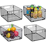 X-cosrack Foldable Cabinet Wall Mount Metal Wire Basket Organizer with Handles Set of 4, Farmhouse Food Storage Mesh Bin for
