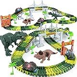 Dinosaur Toys,156pcs Create A Dinosaur World Road Race,Flexible Track Playset and 2 pcs Cool Dinosaur car for 3 4 5 6 Year &