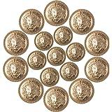 PAGOW 30pcs Lion Head Metal Buttons, Gold Blazer Button for Suits, Sport Coat, Uniform, Jacket (0.7inch/17.5mm, 0.9inch/22mm)