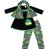 Boutique Baby Toddler Little Girls St. Patricks Day Scarf Outfit - Shamrock Clover or Lucky Girls Appliqued 3-Piece Set