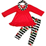 Amor Bee Girls Valentine's Day Vintage Floral Roses Outfit Set - Tunic Leggings Scarf 3pc Set