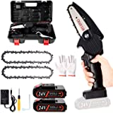 2021 Upgraded Mini Chainsaw With 2 Batteries 2 Chain, 4-Inch Cordless Mini Chainsaw Battery Powered with Safety Lock , One-Ha