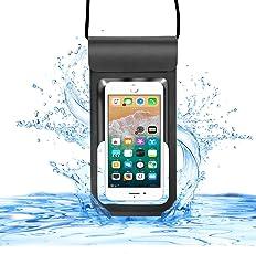 【CASEKOO】最新版 防水ケース スマホ用 IPX8認定 新しいデザイン 防水に強い 入れたままタッチ可能 iPhone X / iPhone8 plus/iPhone 7plus / Phone6 6s Plus Android 6インチ以下全機種対応 ネックストラップ付属 小物収納 潜水 プール 水泳 海水浴など適用 ブラック