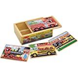 Melissa & Doug 3794 Vehicles 4-in-1 Wooden Jigsaw Puzzles in a Storage Box (48 pcs)