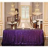 "PartyDelight Sequin Tablecloth, Wedding, Sweetheart, Christmas Tree, Rectangular, 48""x72"", Purple"
