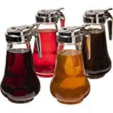 Syrup Dispensers 4-pack, 14oz (420mL) - Glass Bottle No-Drip Pourers for Maple Syrup, Salad Dressings, Honey, Sugar, Oils, Sa