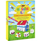 BIC Kids My Farm Colouring Kit - 12 Felt Pens/12 Wax Crayons/ 12 Colouring Pencils/1 Eraser/1 Glue Stick/6 Glitter Glue/Stick