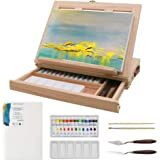 Adjustable Wood Box Desktop Easel Art Painting Supplies with Storage Drawer,Canvas Panel Boards,Paint Palette - Portable Draw