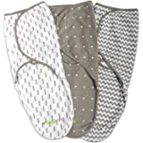 Swaddle Blanket Adjustable Infant Baby Wrap Set by Ziggy Baby 3 Pack Soft Cotton in Grey