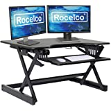 """Rocelco EADRB2 Standing Desk Converter - Side Paddle Easy Height Adjustable Sit Stand Desk Riser - Dual Monitor Capable - 32"""""""