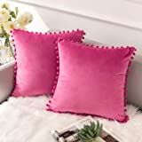 Ashler Decorative Plush Velvet Solid Square Throw Pillow Covers with Small Round Velvet Particles 18 X 18 inch 45 X 45 cm, Ma