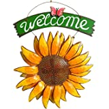 D-Foxes Vintage Iron Hanging Butterfly Sunflower Welcome Sign 12x15 inch for Door Hanging Home Decor