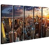 ART New York Sundown Canvas Print, Large Wall City Landscape, Extra Large Cityscape Big Apple New York Wall Print - 60x32 Inc