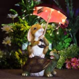 GIGALUMI Garden Statue Outdoor Decor, Rabbit Siting On Turtle Holding a Umbrella with String Lights, Solar Statue and Sculptu
