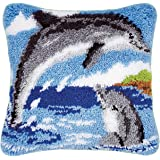 Latch Hook Kit DIY Pillow Cover Handcraft Printed EmbroiderySet Crochet Needlework Crafts for Kids & Adults (Dolphin, 17 x 1