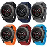Songsier Compatible with Fenix 6X Band, 26mm Easy Fit Silicone Watch Strap Repalcement Wristband for Fenix 6X/Fenix 6X Pro/Fe