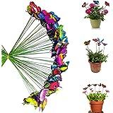Antallcky 100pcs Butterfly Stakes Outdoor Yard Planter Flower Pot Bed Garden Decor Butterflies Christmas Decorations,Butterfl