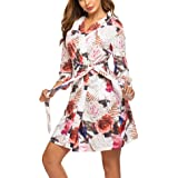 Hotouch Women Soft Cotton Bathrobe 3/4 Sleeves Sleepwear Loungewear Long S-XXL