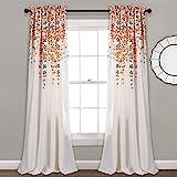 Lush Decor 16T000557 Weeping Flowers Room Darkening Window Panel Curtain Set, 84 inch x 52 inch, Turquoise/Tangerine