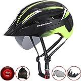 Kinglead自転車ヘルメット(風)超軽量サイクリングヘルメット 22通気穴大人用ヘルメット LEDライト付き 超軽量 調節可能 内装やバイザー取り出す可能なロードヘルメット スケートボード、キックボード、インラインスケートなど子供も適用