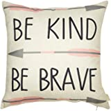Fjfz Cotton Linen Home Decorative Quote Words Throw Pillow Case Cushion Cover for Sofa Couch Tribal Girl Nursery Art, Be Kind