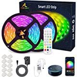 WiFi LED Strip Lights 10M (2x5M), ALED LIGHT RGB LED Strips Lights 5050 SMD, 16 Million Colors, Sync with Music, IP65 Waterpr