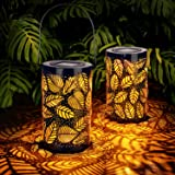 2-Pack Solar Hanging Lantern Outdoor, Metal Hollow LED Solar Lights, Warm White, Decorative Solar Powered Lamps with Stakes f