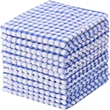 Kitchen Towels Bulk 100 Cotton Kitchen Dish-Cloths Scrubbing Dishcloths Sets 11x17 Inch 12pcs (Blue)