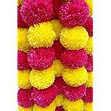 DECORATION CRAFT Artificial Marigold Flower Garlands 5 Feet Long (Pink and Yellow, 5)