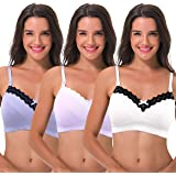 Curve Muse Women's Nursing Plus Size Wirefree Cotton Bra with Upper Lace-3Pack