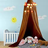 Bed Canopy,Soft Cotton Multicolor Round Dome Comfortable Eco-Friendly Hanging Mosquito Net Curtain Kids Princess Play Tents f