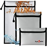 Fireproof Waterproof Money Document Bag - 3 Pack Safe Upgraded Zipper Bags, Fire & Water Resistant Storage Organizer Pouch fo