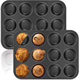 2 Pack Muffin Pan, OAMCEG 12-Cavity Bakeware Non-stick Cupcake Baking Pan Mini Pie Pans Whoopie Pie Pan, Heavy Duty Carbon St