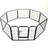 Heavy Duty Pet Dog PlayPen Puppy Exercise Play Pen Fence Enclosure Gate 8 Panels Heavy-Duty Crate Cage (Small 60cm)
