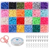 Flat Beads for Jewelry Making, Acrsikr Heishi Clay Beads Bracelet 6mm