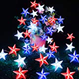 TURNMEON American Flag Stars String Lights with Remote Timer, 10Ft 40Led USA Patriotic Red White Blue Fairy Lights Battery Op