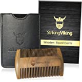 Wooden Beard Comb & Black Leather Case by Striking Viking - Anti-Static Wood Pocket Comb with Fine & Coarse Teeth For Beard H