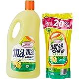 Mama Lemon Dishwashing Liquid, Regular, 2L Banded with 600ml Refill