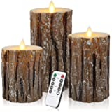 Aku Tonpa Pine Bark Effect Flameless Candles Battery Operated Pillar Real Wax Flickering Moving Wick Electric LED Candle Sets