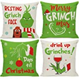 DSWEESUN Grinch Christmas Pillow Covers 16x16 Set of 4, Merry Grinchmas Throw Pillow Covers for Sofa Couch, Winter Holiday Xm