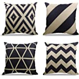 (A-geometrict Pattern) - Geometrict Pattern Throw Pillows Covers 46cm x 46cm Cotton Linen Cushion Covers for Couch Decorative