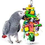 SunGrow Parrot Chewing Toy, 15.7X4 Inches, Edible Chew, Nibbling Keeps Beaks Trimmed, Multicolored Wooden Blocks Attract Pet'