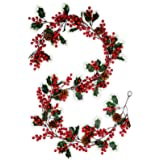 Meiliy 6.3FT Red Berry Christmas Garland with Pine Cones Artificial Holly Berry Garland Indoor Outdoor Fireplace Mantle Decor
