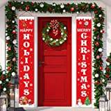 Christmas Porch Sign, Front Door Merry Christmas Banner Hanging Christmas Door Decorations for Home Wall Indoor Outdoor Holid