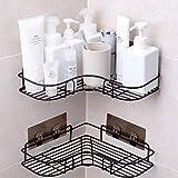 SYOSIN 浴室ラック コーナーラック 台所収納ラック 強力粘着固定 ステンレス金属製 シャワーラック お風呂場/キッチン/洗面所 多機能収納 (2個-black)