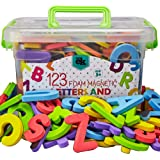 Magnetic Foam Letters and Numbers Premium Quality ABC, 123 Foam Alphabet Magnets | Educational Toy for Preschool Learning, Sp