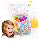 36 Bath Toys Letters & Numbers + The Original Toy Organizer by Tub Cubby + Quick Dry Storage Net + Lock Tight Suction Hooks &
